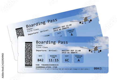 Two Airline Blue Boarding Pass Tickets Isolated On White Background