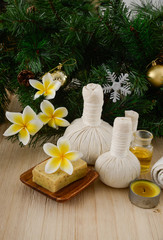Printed kitchen splashbacks Spa Christmas spa with Composition of spa treatment and wooden background