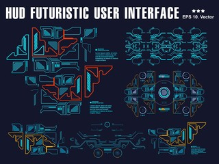 Hud interface dashboard, virtual reality interface, futuristic virtual graphic touch user interface, target