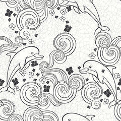 Abstract seamless  pattern with hydrangeas and dolphins, waves. Vector illustration on a sea theme.