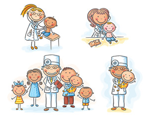 Fototapete - Family doctor with his patients, cartoon graphics, vector illustration