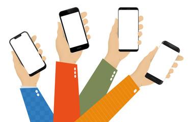 Different Mobile Phones in Hands Vector Illustration