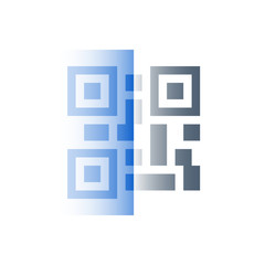Scanning QR code, recognition concept, vector flat icon