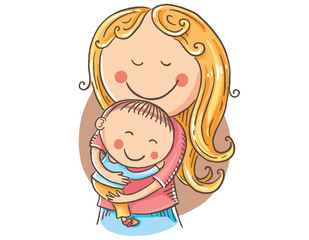 Happy cartoon mother with a child, vector clipart