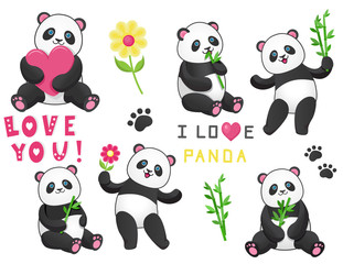 Set of six pandas with bamboo.Design element for baby shower card, scrapbook, invitation, baby goods and childish accessories. Isolated on white background. Vector illustration.