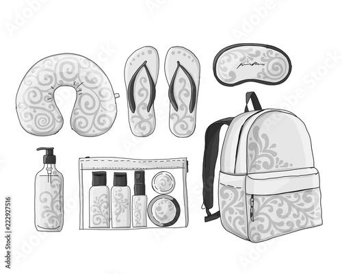Travel set mockup, sketch for your design