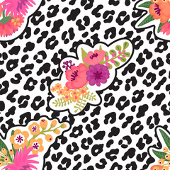 Leopard print and flower embroidery fashion patch. Seamless pattern. Vector illustration background