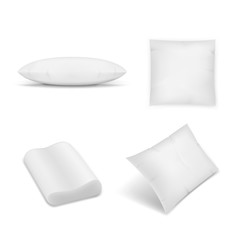 Realistic pillows set on white background. Graphic concept for your design.