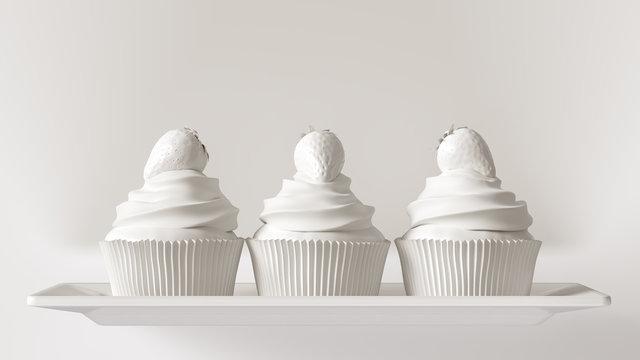White Luxury Strawberry Cakes 3d illustration 3d render