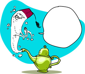 genie of the lamp funny cartoon sketch style hand drawn vector illustration