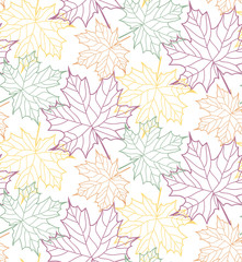 Autumn flat design leaves pattern background