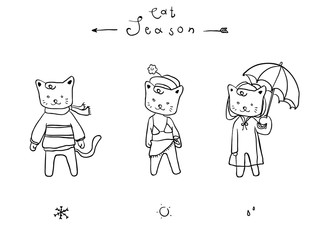 Cute cat cartoon for  coloring book, background, sticker, for decoration