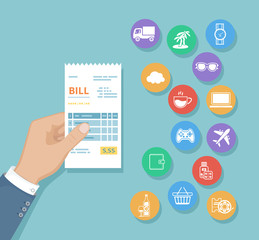 Bill in man hand. Set of service icons. Shopping, check, receipt, invoice, order. Paying bills. Payment of goods, services, utility, restaurant. Vector