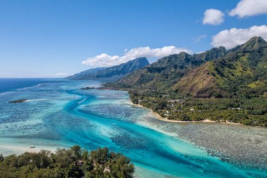 Moorea island french polynesia lagoon aerial view