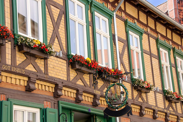 Quedlinburg, Altstadt, Fachwerkhaus, Blumen