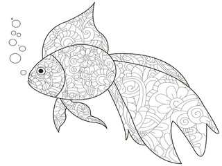 Antistress Coloring Book is a goldfish. Black lines, white background raster