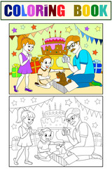 Childrens cartoon color of the holiday. Birthday with gifts, a memorable shot. The boy present a puppy to the boy.
