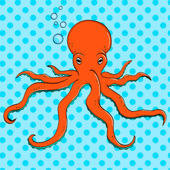 Sea animal, octopus. Inhabitant of the depths of the ocean. Pop art raster. The imitation of comic style.
