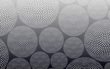 abstract background filled with dotted spheres in silver shades
