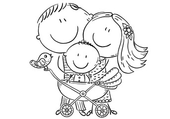 Wall Mural - Happy family with a baby in a baby carriage, outline
