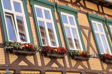 Quedlinburg, old town, Fachwerkhaus, detail