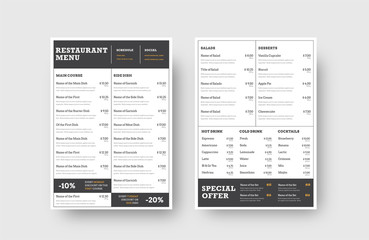 Design the front and back pages of the menu for a restaurant or cafe, divided into blocks for dishes, drinks and stock.