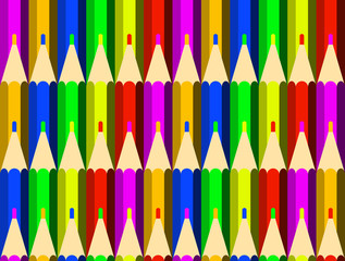 Color pencils background. Seamless pattern. Drawing, creativity, school