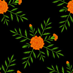Marigold. Seamless Pattern. Day of the Dead. Mexican festival