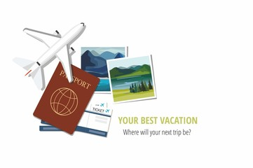 Plane model with travel instant photographs, passports and tickets on white background. Travel concept