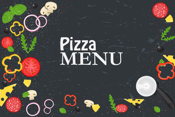 Pizza menu. Products for pizza. Background with fresh ingredients.
