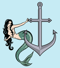 Beautiful mermaid with long hair on the background of the anchor