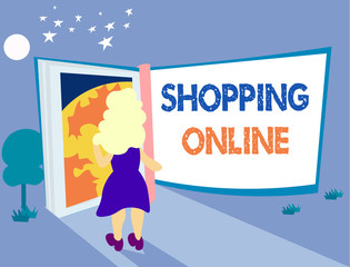 Word writing text Shopping Online. Business concept for buying you want through internet website then deliver it.