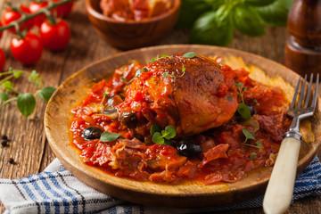 Traditionally made chicken in tomato sauce cacciatore.