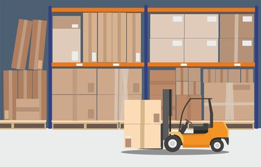 Concept of warehouse. The forklift in the big warehouse delivery