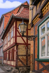 Quedlinburg old town, Half Timbered houses, Street Lamp, narrow alley