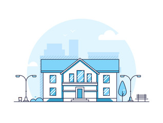 Apartment house - modern thin line design style vector illustration