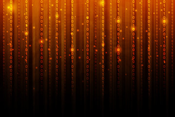 orange gradient color with binary code, abstract background