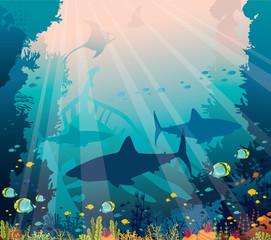 Underwater sea - sharks, mantas, tropical fishes, coral reef, sunken boat.