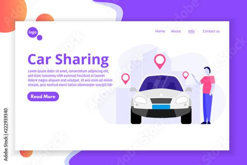 car sharing transport renting service concept web landing page