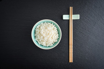 Boiled rice in bowl