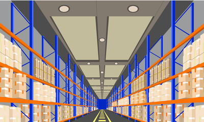Warehouse Interior with Boxes On Rack perspective front viewpoint. Vector with Flat and solid color style Illustration.