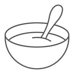Baby cereal thin line icon, food and eat, dish sign, vector graphics, a linear pattern on a white background.