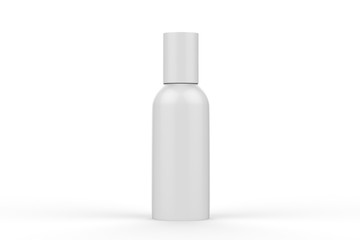 Blank Cosmetic Spray Can Mock Up On Isolated White Background, Ready For Design Presentation, 3D Illustration