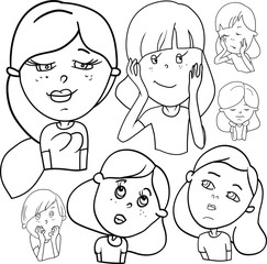 A variety of emotions, a set of characters, girls