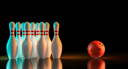 Wall Mural - 3d rendering of bowling stuff