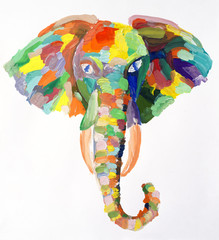 Watercolor painting of elephant head
