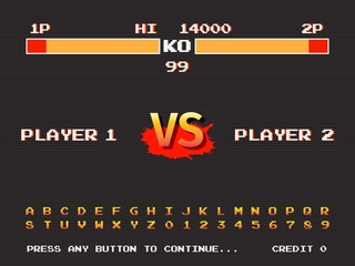 Screen retro game arcade machine. Template of fighting arcade. Vector illustration.