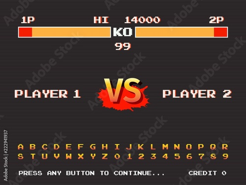 Screen retro game arcade machine  Template of fighting arcade
