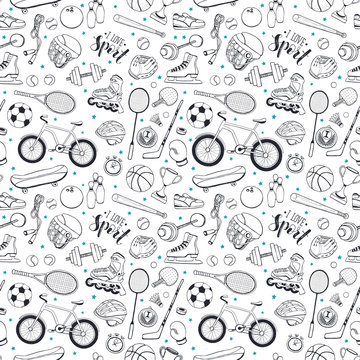 Seamless pattern from sport equipment in doodle style. Vector illustration. Hand drawn sport accessories on white background.