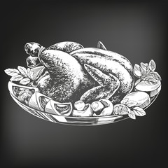 Roasted turkey, chicken,with ingredients hand drawn vector illustration sketch. chalk menu. retro style